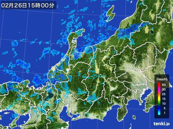 北陸地方の雨雲レーダー(2016年02月26日)