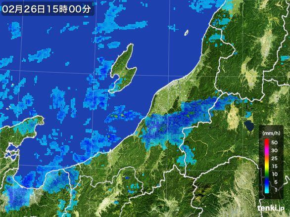 新潟県の雨雲レーダー(2016年02月26日)