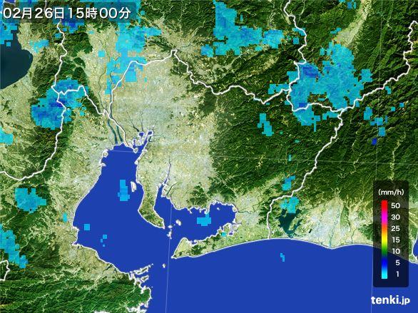 愛知県の雨雲レーダー(2016年02月26日)