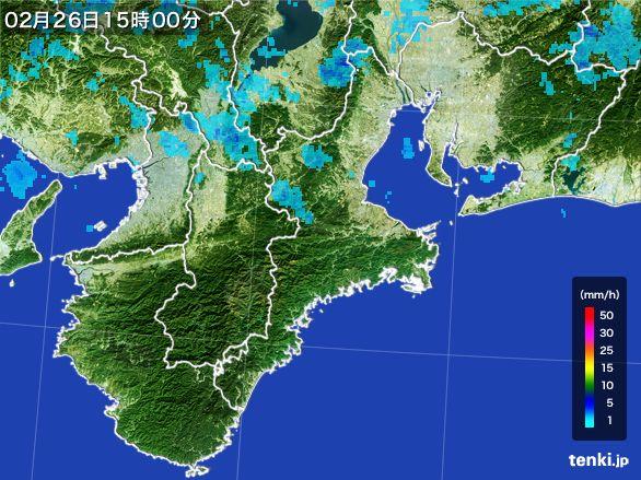 三重県の雨雲レーダー(2016年02月26日)