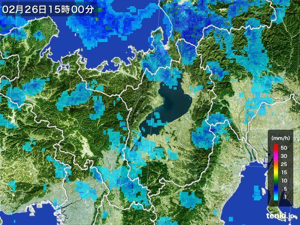 滋賀県の雨雲レーダー(2016年02月26日)