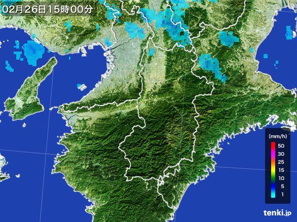 奈良県の雨雲レーダー(2016年02月26日)