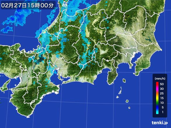 東海地方の雨雲レーダー(2016年02月27日)