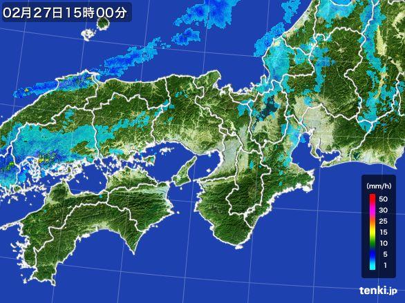 近畿地方の雨雲レーダー(2016年02月27日)