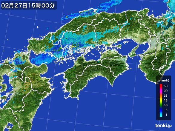 四国地方の雨雲レーダー(2016年02月27日)