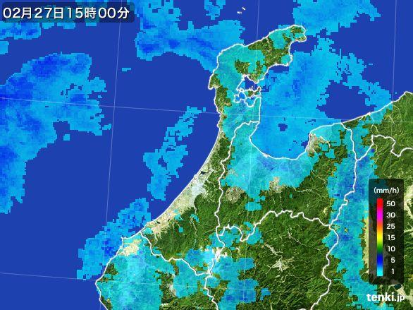 石川県の雨雲レーダー(2016年02月27日)