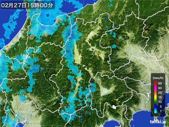 長野県の雨雲レーダー(2016年02月27日)