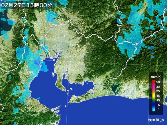 愛知県の雨雲レーダー(2016年02月27日)