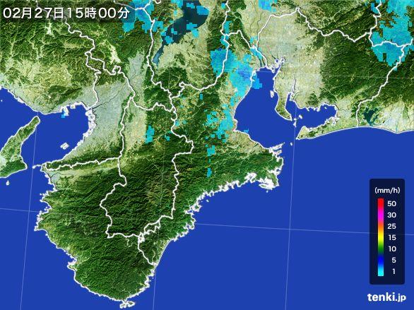 三重県の雨雲レーダー(2016年02月27日)