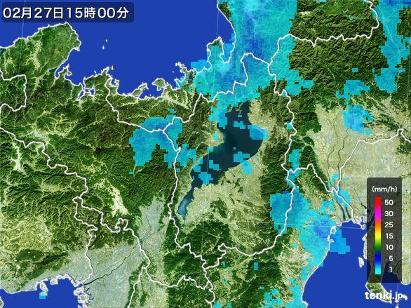 滋賀県の雨雲レーダー(2016年02月27日)