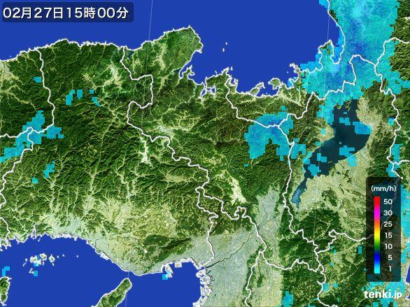 京都府の雨雲レーダー(2016年02月27日)