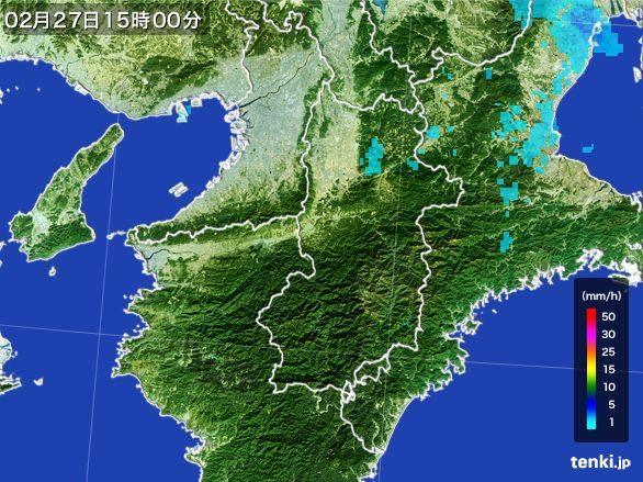 奈良県の雨雲レーダー(2016年02月27日)
