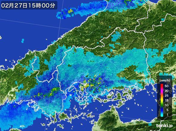 広島県の雨雲レーダー(2016年02月27日)