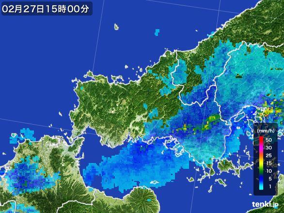 山口県の雨雲レーダー(2016年02月27日)