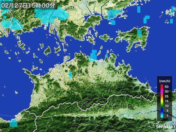 香川県の雨雲レーダー(2016年02月27日)