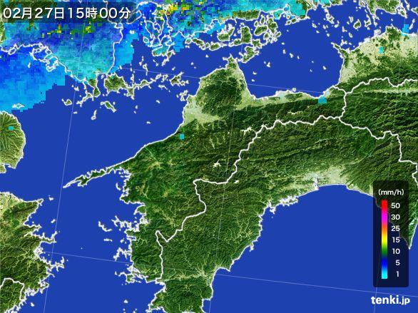 愛媛県の雨雲レーダー(2016年02月27日)