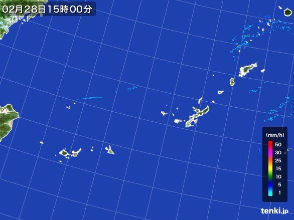 沖縄地方の雨雲レーダー(2016年02月28日)