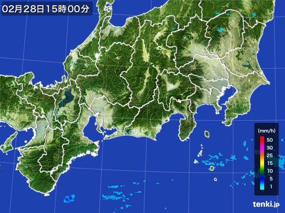 東海地方の雨雲レーダー(2016年02月28日)