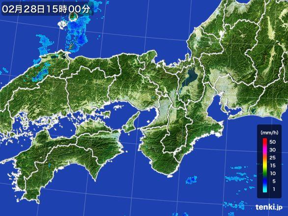 近畿地方の雨雲レーダー(2016年02月28日)