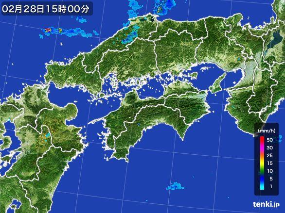 四国地方の雨雲レーダー(2016年02月28日)