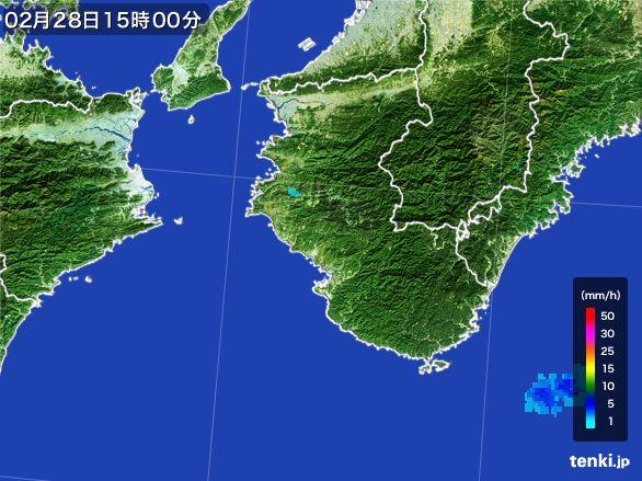 和歌山県の雨雲レーダー(2016年02月28日)