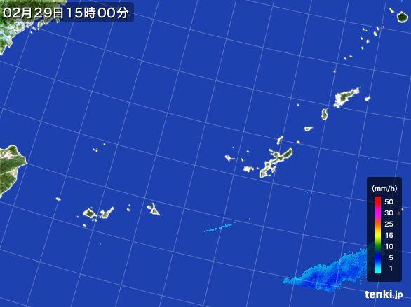 沖縄地方の雨雲レーダー(2016年02月29日)