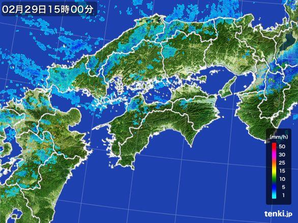 四国地方の雨雲レーダー(2016年02月29日)