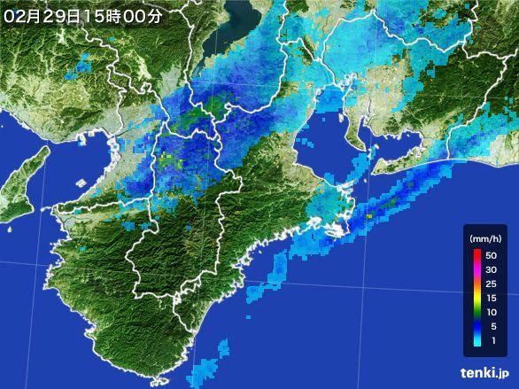 三重県の雨雲レーダー(2016年02月29日)