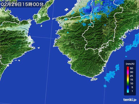 和歌山県の雨雲レーダー(2016年02月29日)