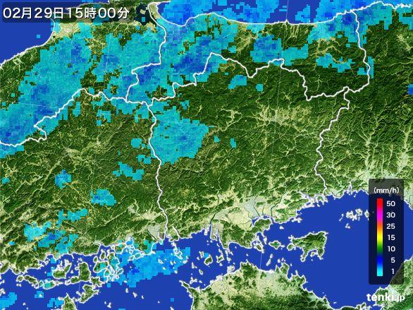 岡山県の雨雲レーダー(2016年02月29日)