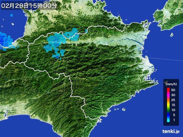 徳島県の雨雲レーダー(2016年02月29日)