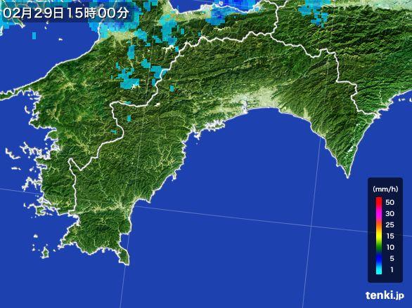 高知県の雨雲レーダー(2016年02月29日)