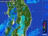 2016年02月29日の岩手県の雨雲レーダー