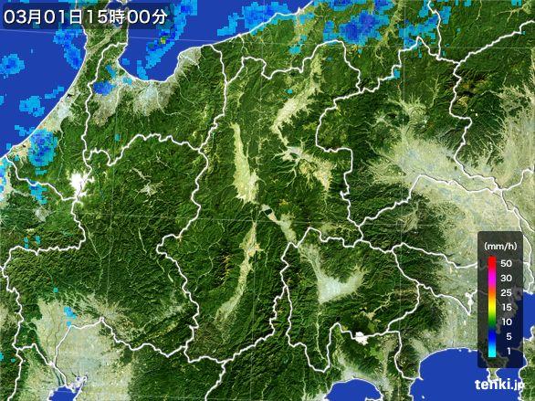 長野県の雨雲レーダー(2016年03月01日)