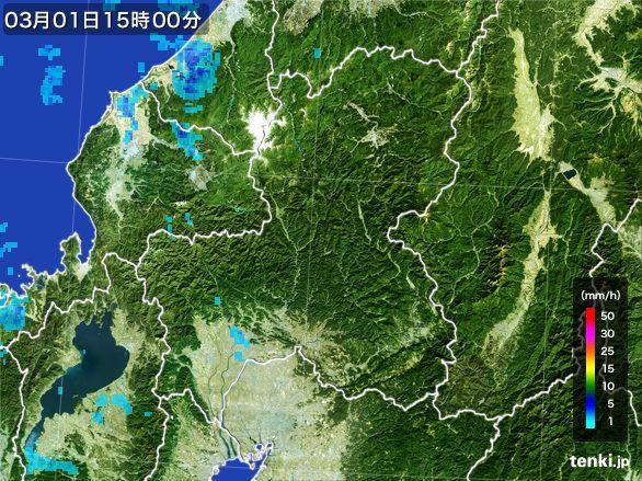 岐阜県の雨雲レーダー(2016年03月01日)