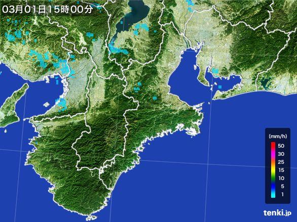 三重県の雨雲レーダー(2016年03月01日)