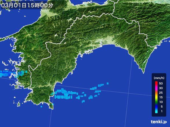 高知県の雨雲レーダー(2016年03月01日)