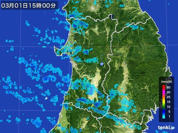 秋田県の雨雲レーダー(2016年03月01日)