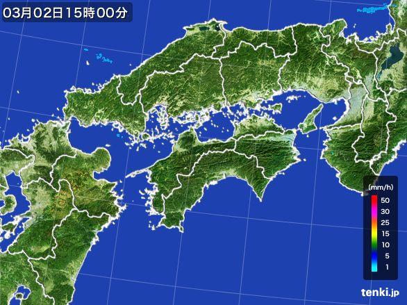 四国地方の雨雲レーダー(2016年03月02日)