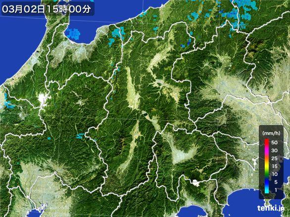 長野県の雨雲レーダー(2016年03月02日)