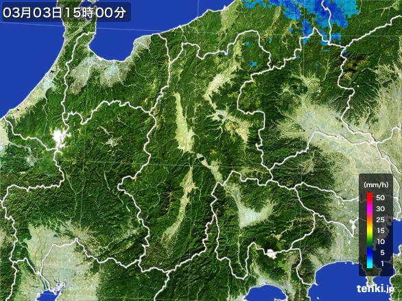 長野県の雨雲レーダー(2016年03月03日)