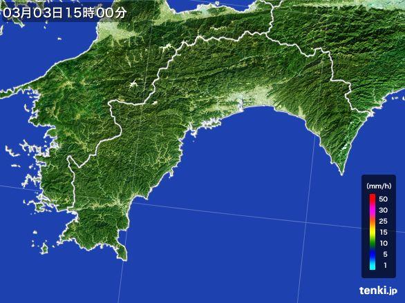 高知県の雨雲レーダー(2016年03月03日)