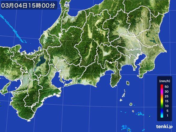 東海地方の雨雲レーダー(2016年03月04日)