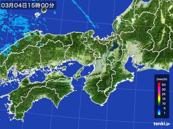 近畿地方の雨雲レーダー(2016年03月04日)