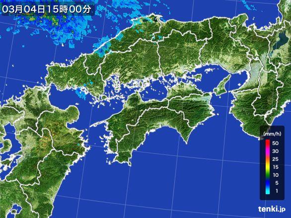 四国地方の雨雲レーダー(2016年03月04日)