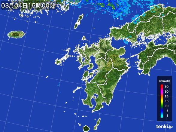 九州地方の雨雲レーダー(2016年03月04日)