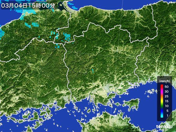 岡山県の雨雲レーダー(2016年03月04日)