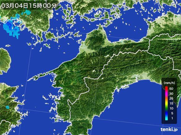 愛媛県の雨雲レーダー(2016年03月04日)