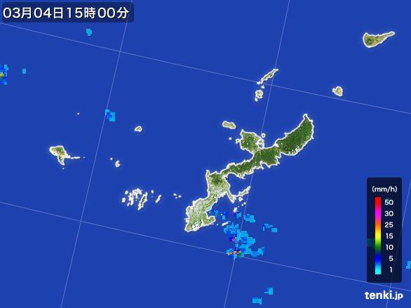 沖縄県の雨雲レーダー(2016年03月04日)