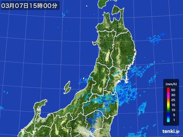 東北地方の雨雲レーダー(2016年03月07日)